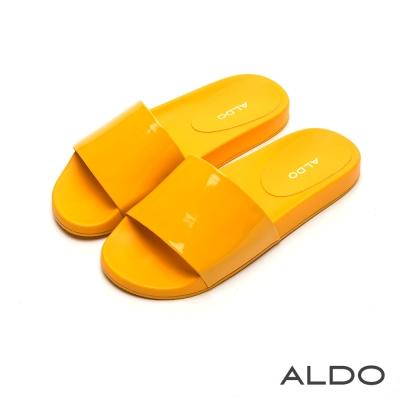 ALDO 沁涼果凍色寬版懶人涼拖鞋~檸檬黃色
