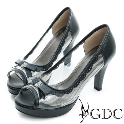 GDC-蝴蝶結透明魚口粗高跟鞋-黑色