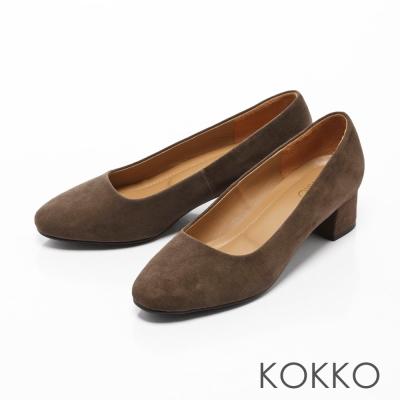 KOKKO-復古美學方頭真皮粗跟鞋-濃情綠
