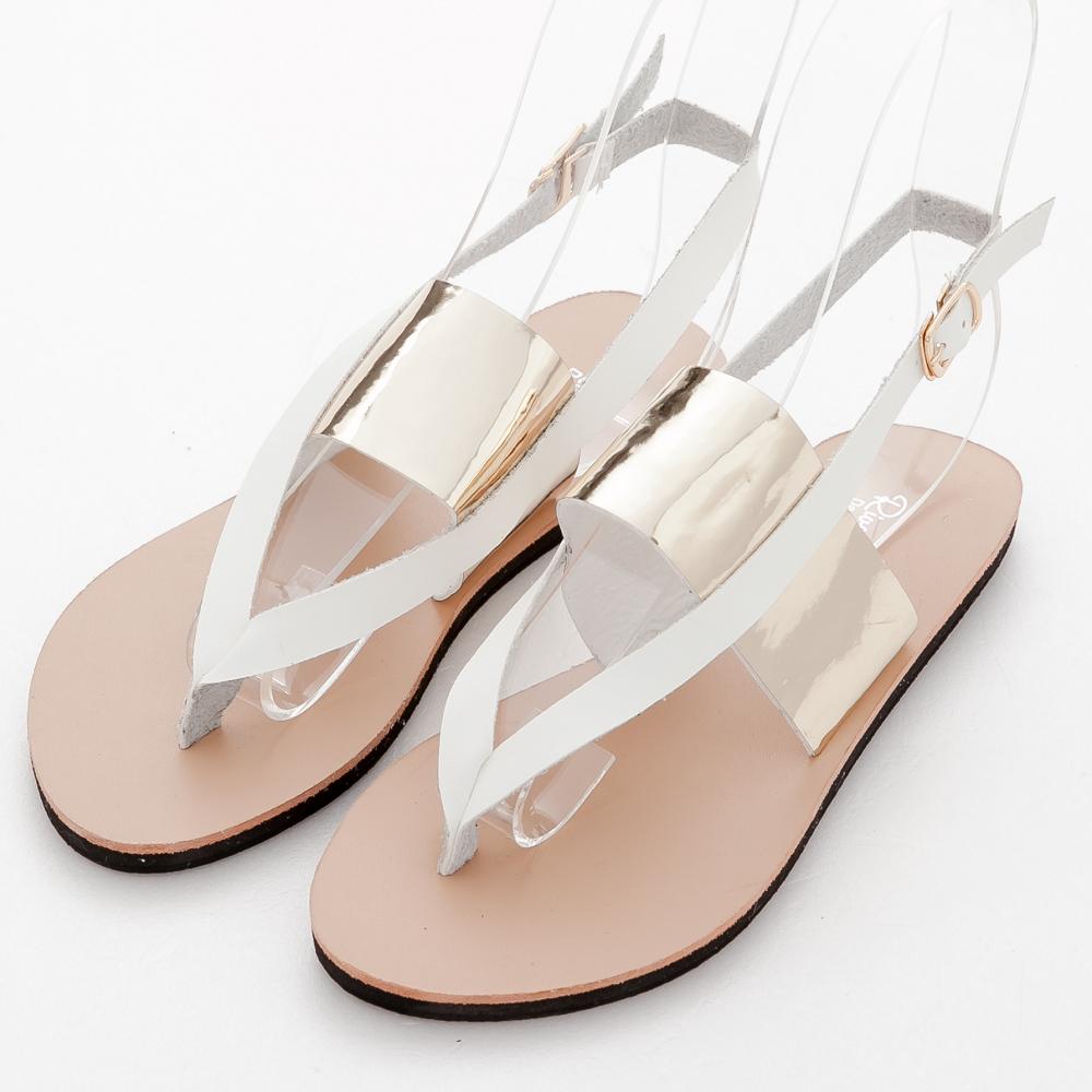 River&Moon夾腳涼鞋-加大尺碼金屬亮片繞踝皮帶平底涼鞋-白系