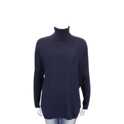 ALLUDE 深藍色直紋拼接高領羊毛針織上衣(100%WOOL)