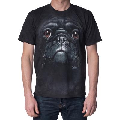 摩達客-美國The Mountain黑巴哥犬臉(5XL大尺碼)短袖T恤