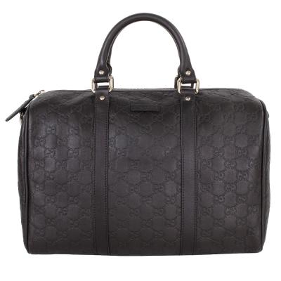 GUCCI-Guccissima-壓紋皮革手提波士頓包-深咖-此款無背帶