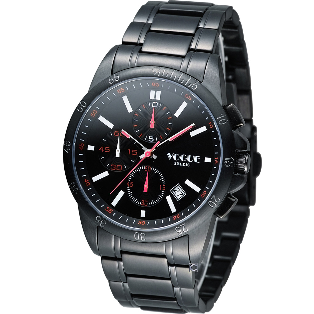 VOGUE 黎明之戰計時時尚腕錶-IP黑x紅白時標/40mm