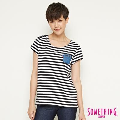 SOMETHING 休閒條紋開衩造型T恤-女-黑色
