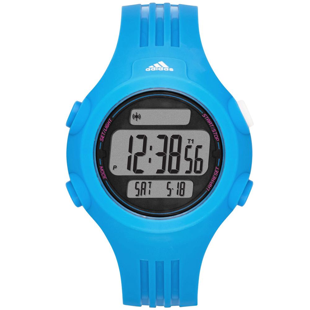 adidas勁戰狙擊大面板電子腕錶-藍42mm