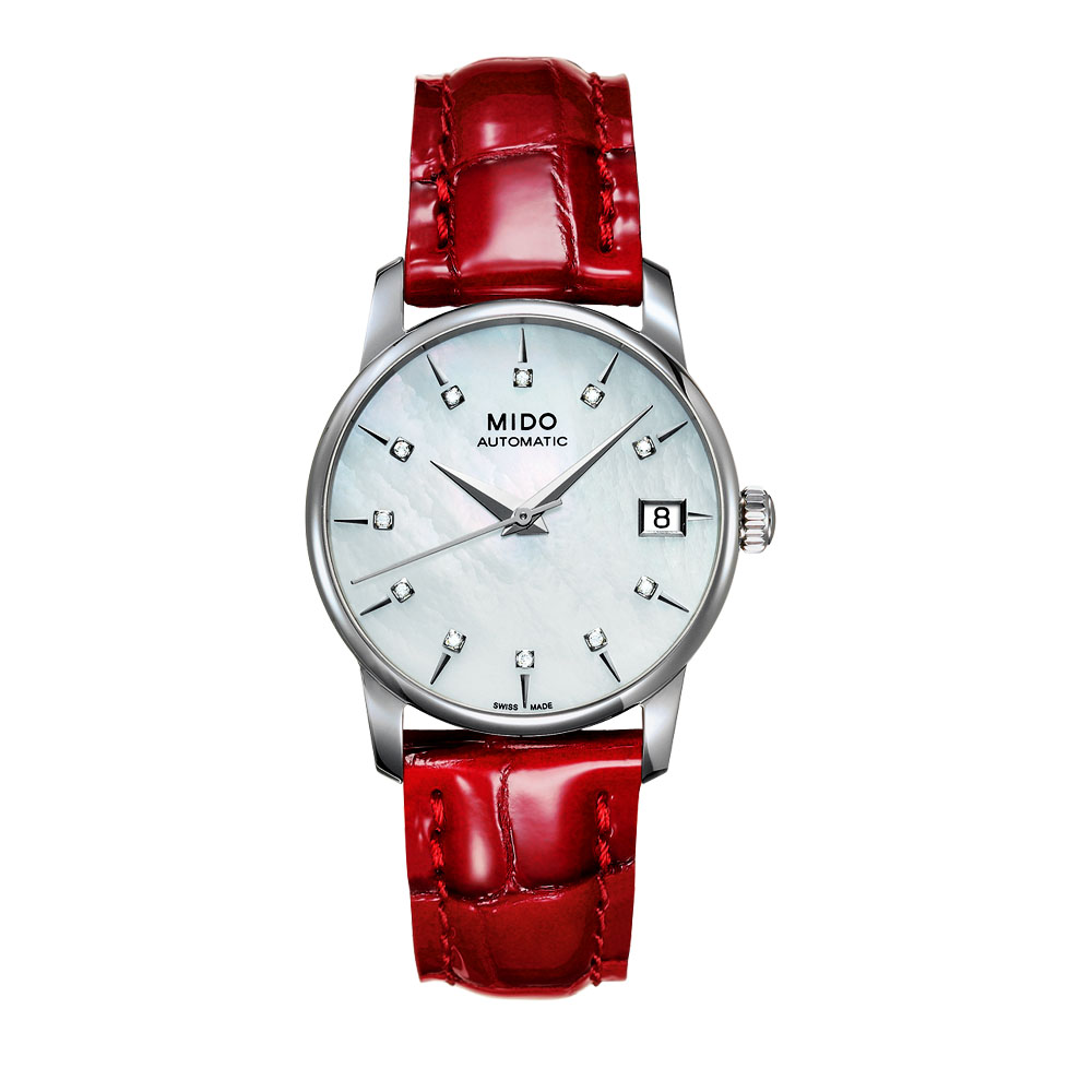 MIDO 鑽石名媛機械皮帶女錶-紅/33mm M0072071610600