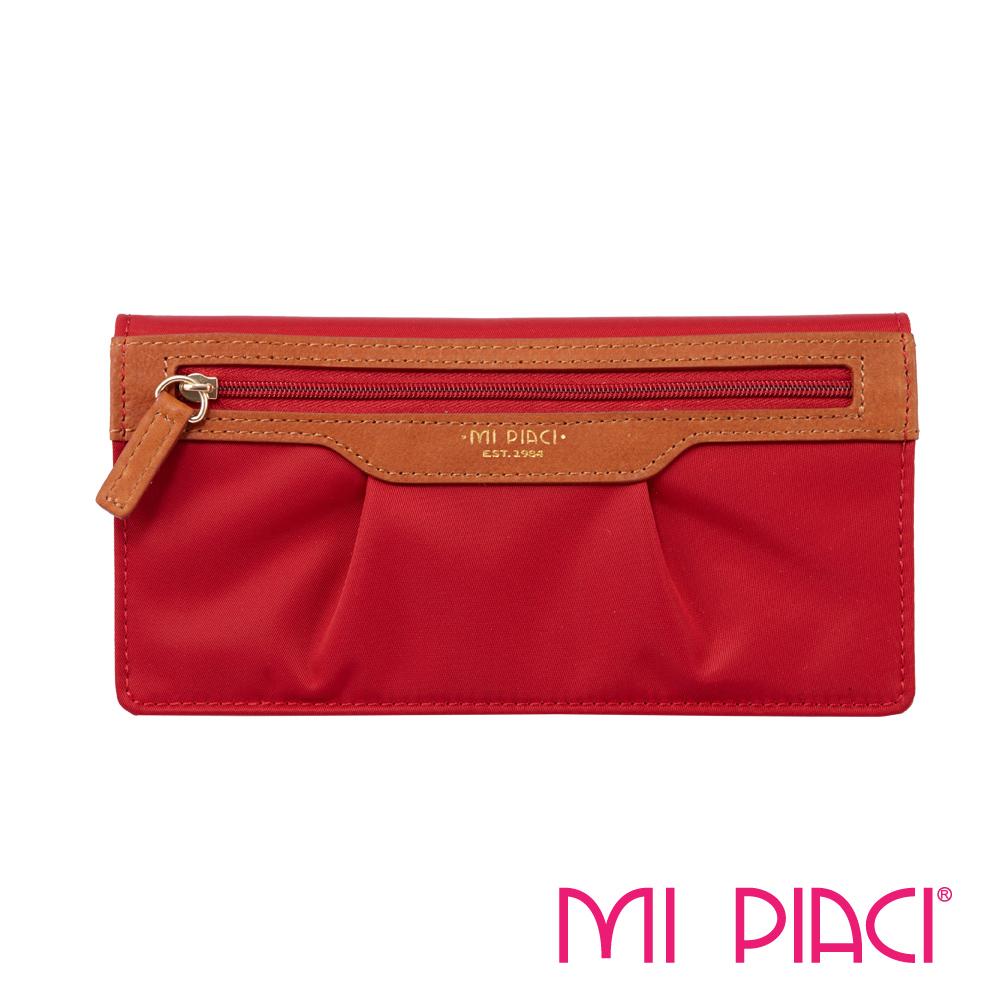 MI PIACI- Jet Set 系列-布配皮抓皺長錢夾-1085912-紅色