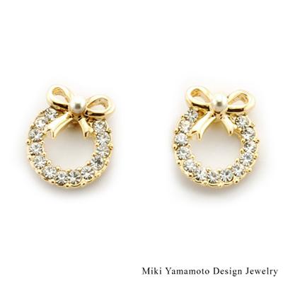 【山本美樹】晶鑽花圈 水晶鑽針式耳環
