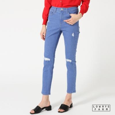 LOWRYS-FARM刷破素面類丹寧棉質細身窄管長褲牛仔褲-二色