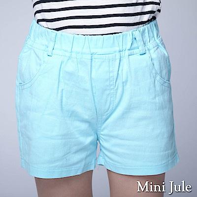 Mini Jule 童裝-短褲 休閒純色雙口袋鬆緊短褲(藍)