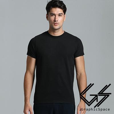 黑色素面磨毛水洗T恤黑色-GraphicSpace