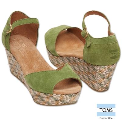 TOMS 麂皮魚口楔型鞋-女款(綠)