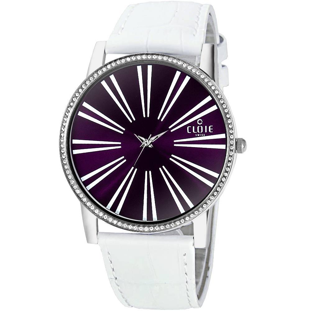 CLOIE 活力無限晶鑽時尚腕錶-紫/43mm