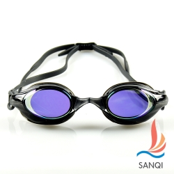 SANQI三奇 夏日必備抗UV防霧休閒泳鏡(8300-黑F)