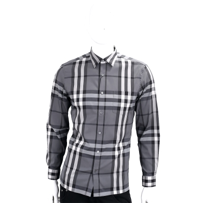 BURBERRY 格紋伸縮棉質長袖襯衫(炭灰色)