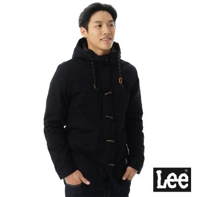Lee 舖棉外套 連帽長版牛角釦-男款-黑