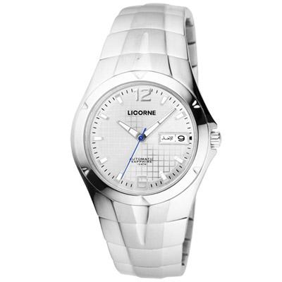 LICORNE 焦點未來都會時尚機械腕錶-銀白/37mm