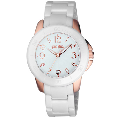 Folli Follie 獨具光芒陶瓷腕錶-白x玫瑰金/38mm