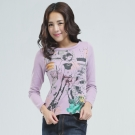 BOBSON 印圖個性女郎T恤(紫色)