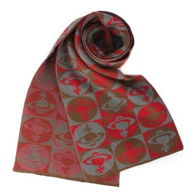 Vivienne Westwood 棋盤格星球羊毛圍巾-紅色