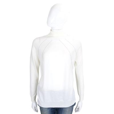 FABIANA FILIPP 米白色銀飾條紋美麗諾羊毛高領針織上衣