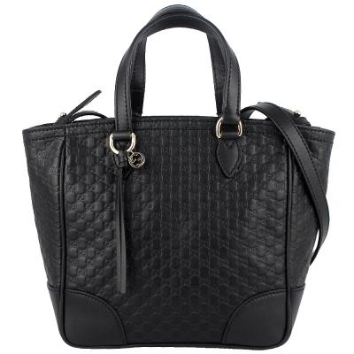 GUCCI Guccissima 黑色真皮壓印品牌吊飾斜背/手提包