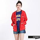 H:CONNECT 韓國品牌 女裝 -簡約印字連帽外套-紅
