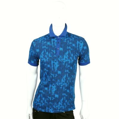 TRUSSARDI-JEANS 藍色渲染LOGO綴飾短袖POLO衫
