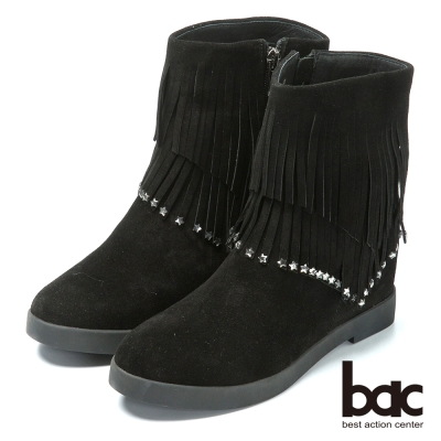 bac時尚品味 流蘇鉚釘平底短靴-黑