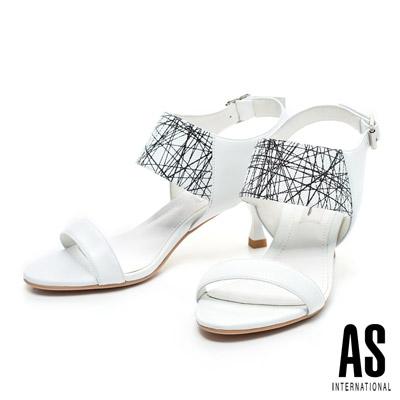 AS-時尚撞色系-線條造型一字羊皮高跟涼鞋-白