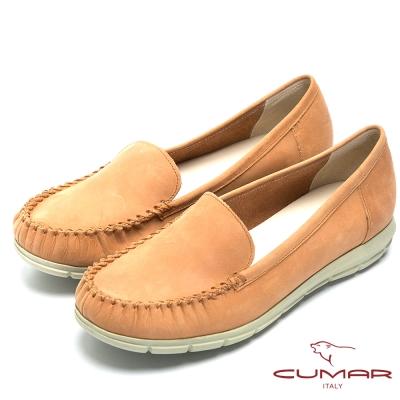 CUMAR經典百搭-舒適真皮超輕平底包鞋-棕色