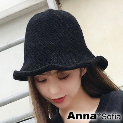 AnnaSofia-捲邊毛線針織-軟式盆帽漁夫帽