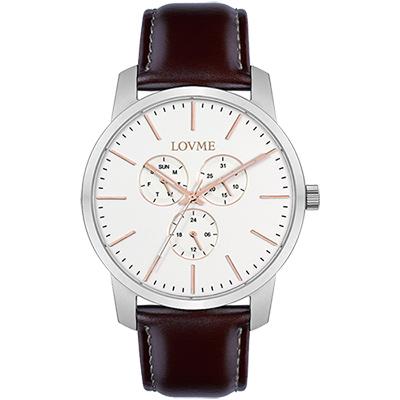 LOVME 簡約時尚中性手錶-白/43mm
