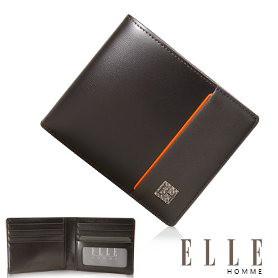 ELLE HOMME 嚴選義大利頭層皮系列 8卡法式精品短夾 -咖啡
