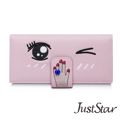 Just-Star-萌眼手指藍寶石長夾-天使粉