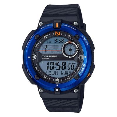 CASIO 世界地圖概念雙傳感器數位運動錶(SGW-600H-2)-藍框-45mm