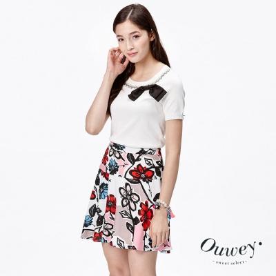 OUWEY歐薇-珠飾領邊蝴蝶結針織衫-白
