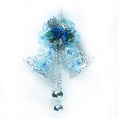 10吋浪漫透明緞帶雙花鐘-藍銀色