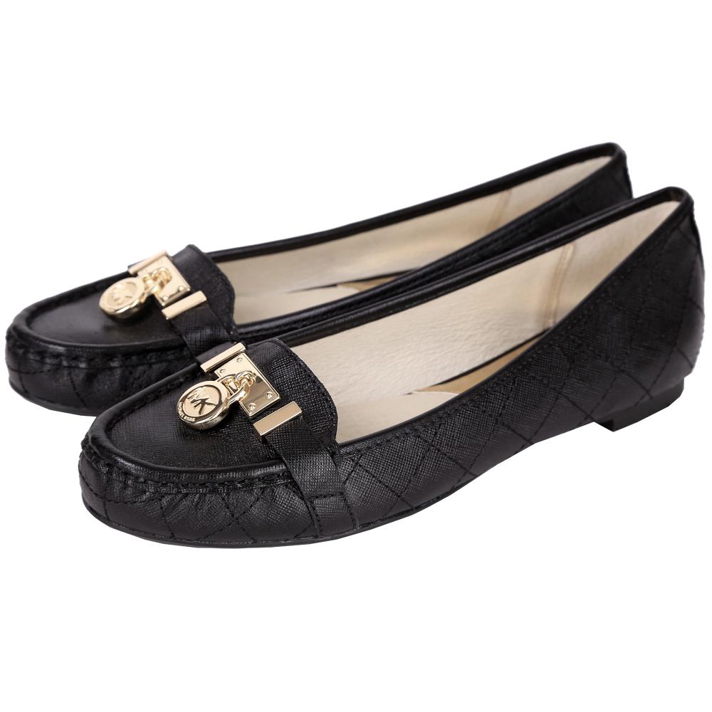 Michael Kors Hamilton 鎖飾菱格車紋平底鞋(黑色)
