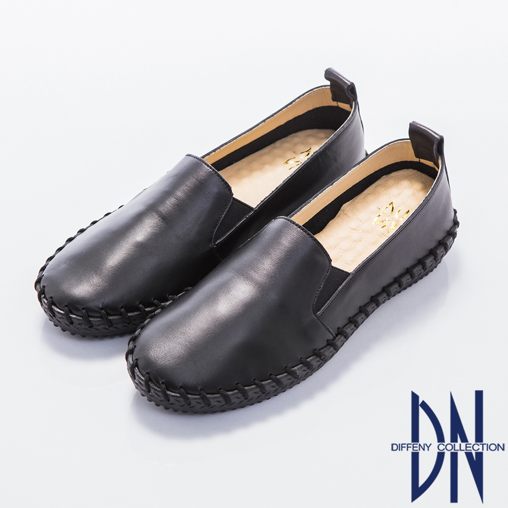 DN 最愛MIT 經典牛皮手工休閒懶人鞋-黑