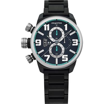 elegantsis Army 叢林戰鬥強悍三眼計時腕錶-IP黑/48mm