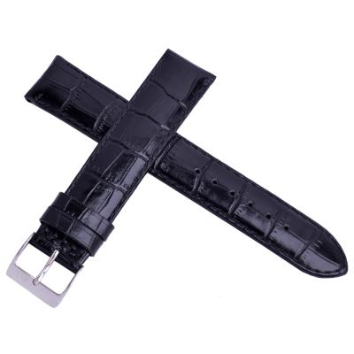 進口高級牛皮鱷魚壓紋通用型加長錶帶-黑