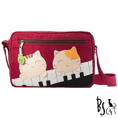 ABS貝斯貓 可愛貓咪拼布 側背包 肩背包 (暗紅) 88-201