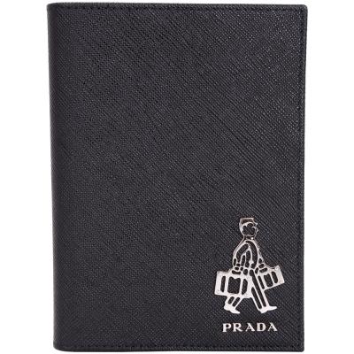 PRADA Saffiano 人形金屬設計防刮牛皮護照夾(黑色)