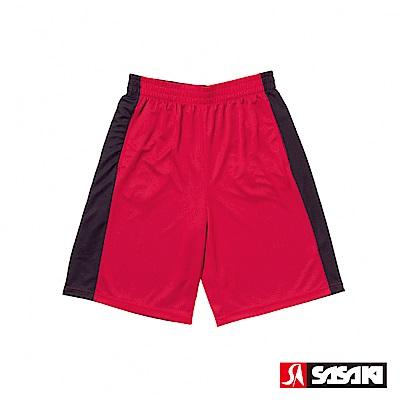 SASAKI 雙面穿長效性吸排籃球短褲-男-紅/黑