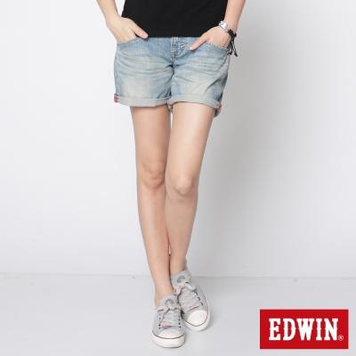 EDWIN-MISS-BT袋口繡花牛仔短褲-女-拔淺藍