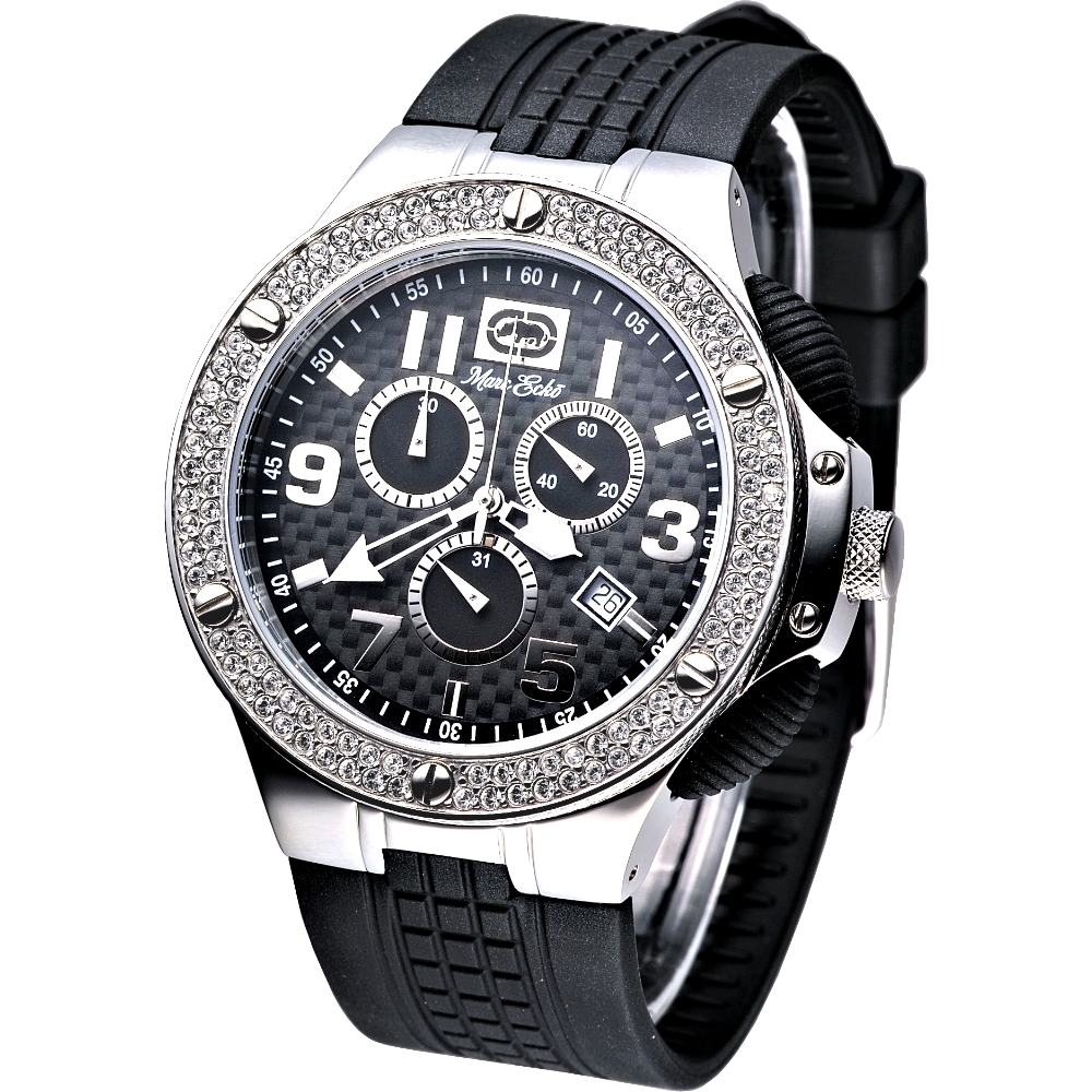 MARC ECKO 極速魅力三眼計時晶鑽腕錶-黑/43mm