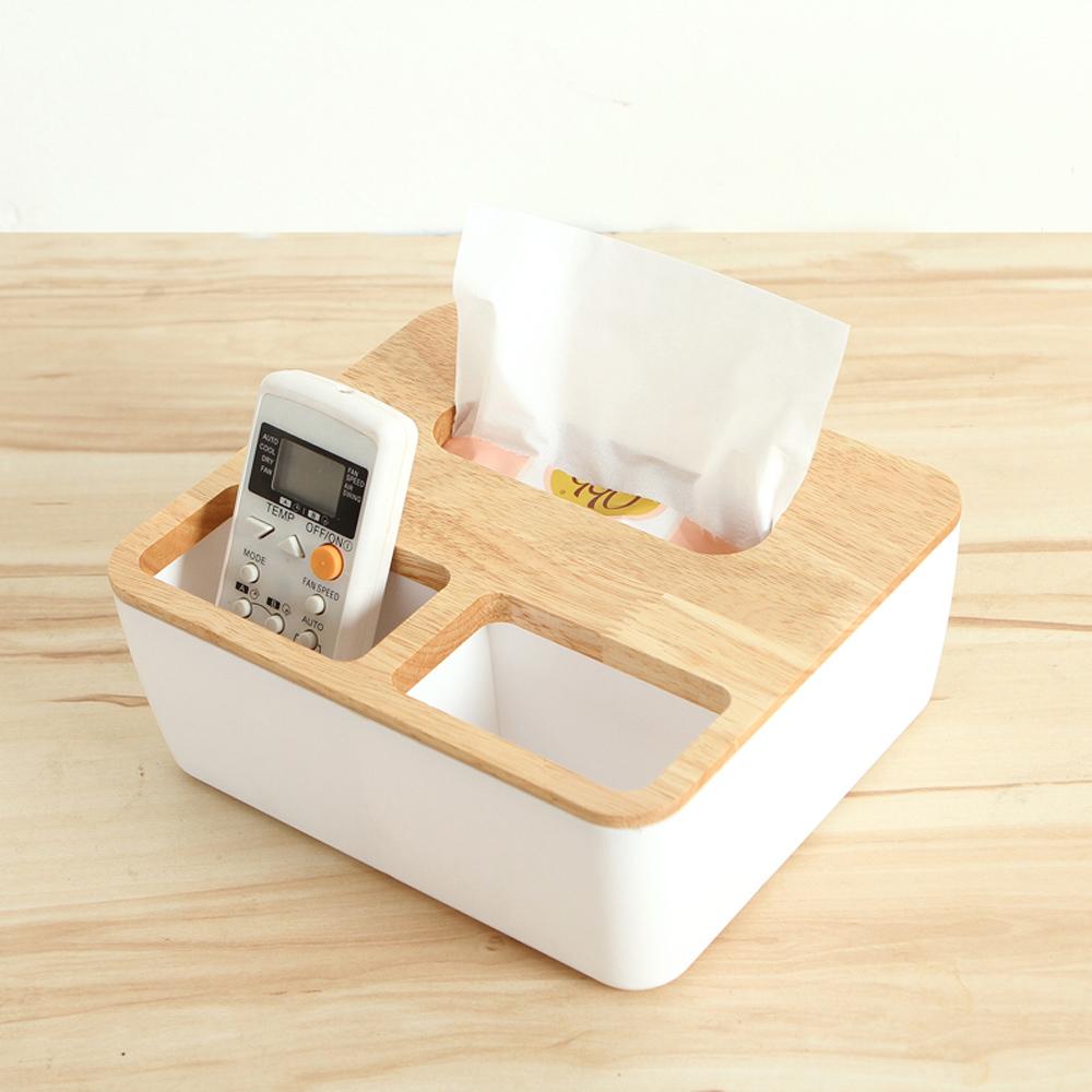 日創優品 橡木面紙盒-大(方形三格木蓋)