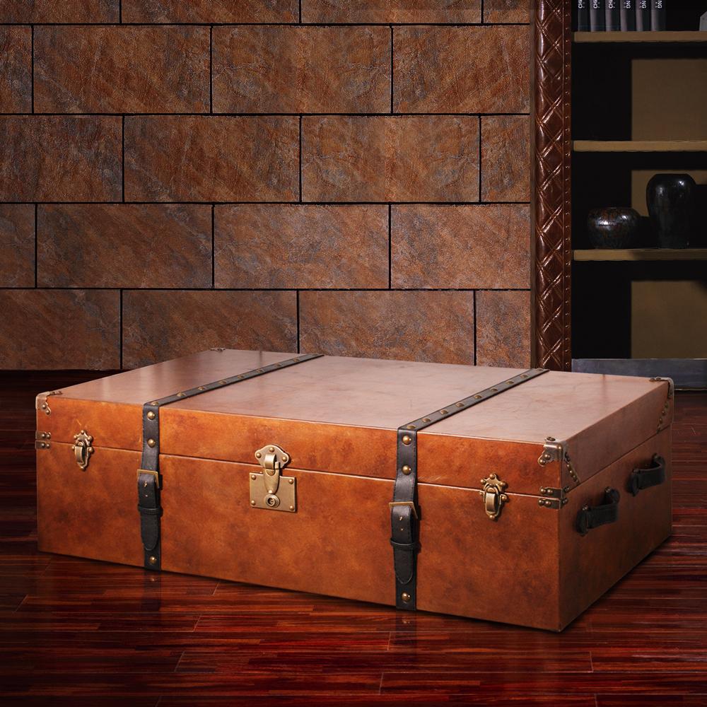 MUSE_Oulton奧爾頓復古旅行牛皮收藏箱(大)W120*D70*H35 CM